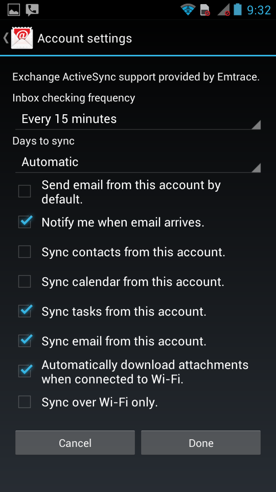 Active Sync Droid Step 5